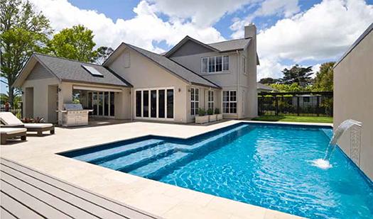 Inground pool in entertaining area