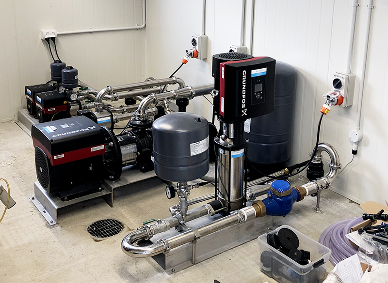 Grundfos components used in complete dairy shed pump system